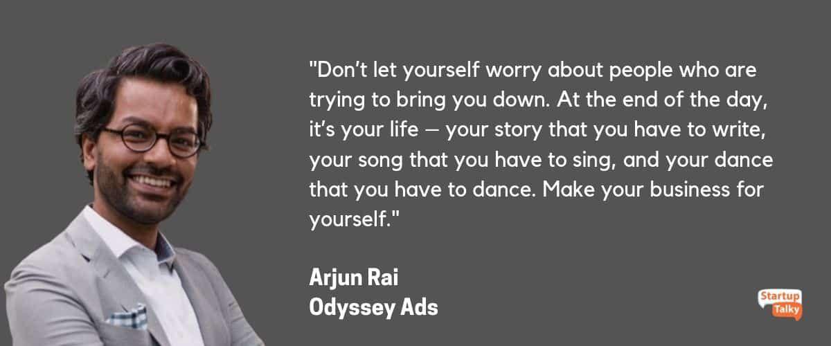 Arjun Rai, Odyssey ads