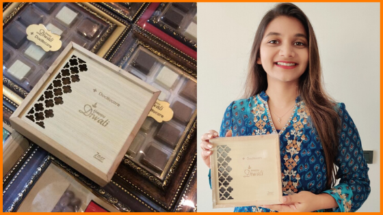 Docttocare founder, Sugandha with gifts for her employees