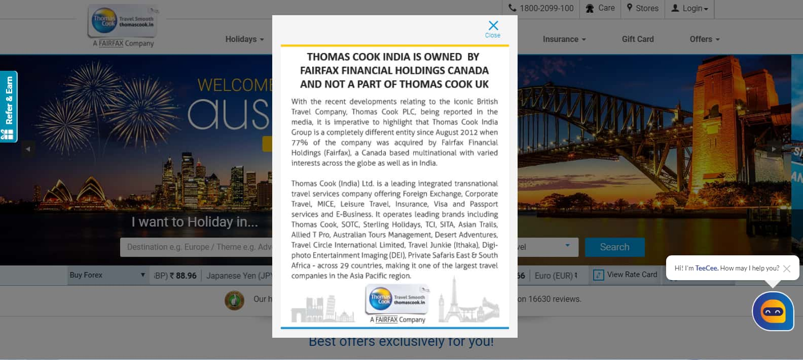Message on Thomas Cook India website