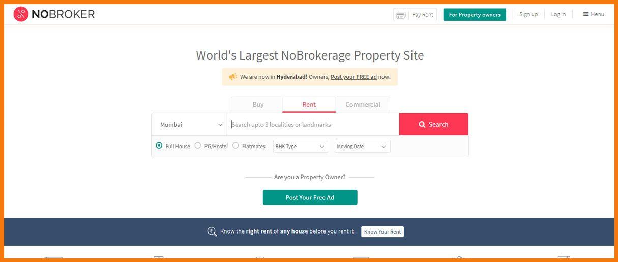 NoBroker homepage