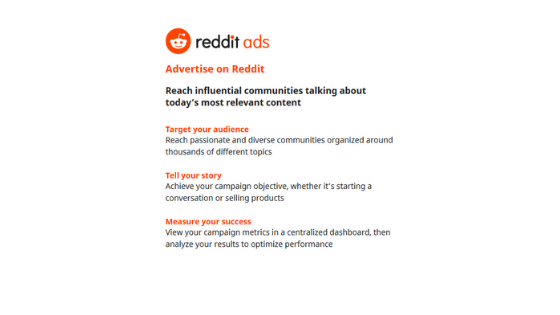 Reddit advertisement for small busnissses