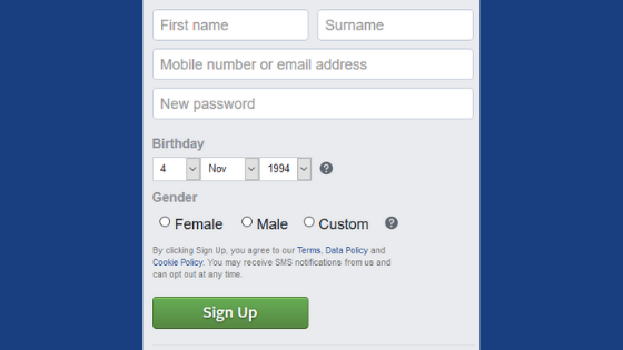 sign up form examples