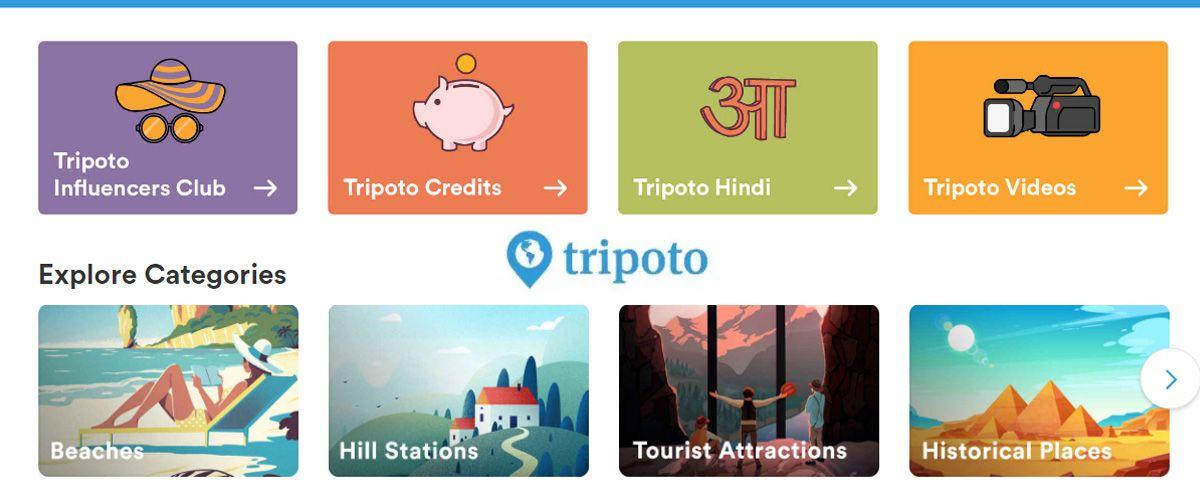 Tripoto homepage