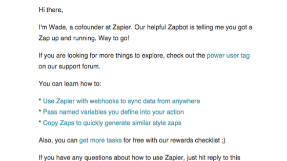 Zapier's email