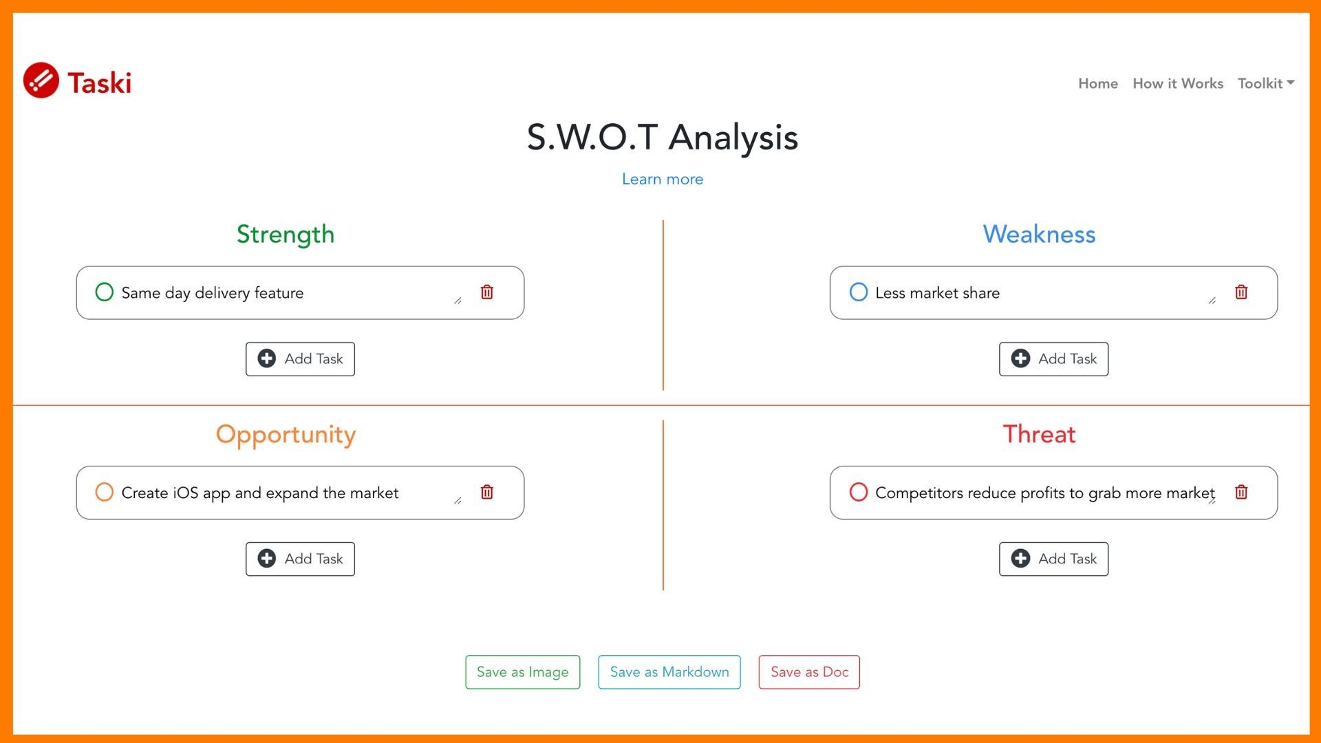 Taski SWOT Analysis