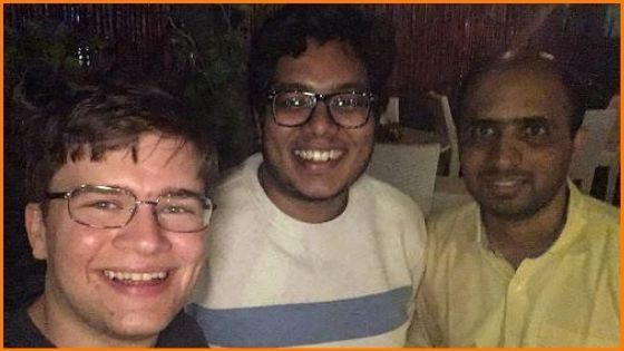 Blockonomics founder Shiva Sitamraju (extreme right) with team members in Hyderabad