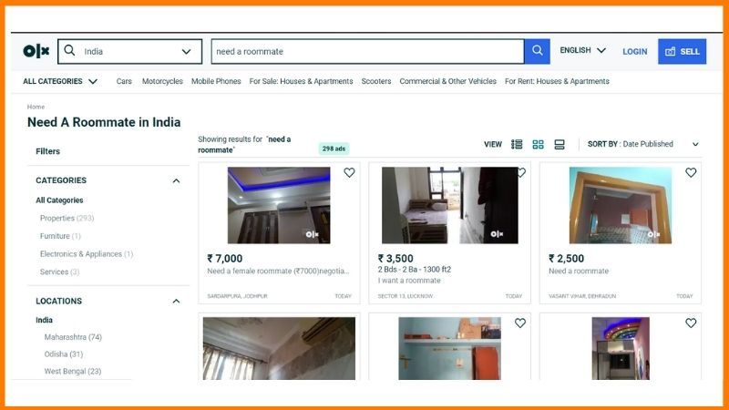 website for roommate - OLX