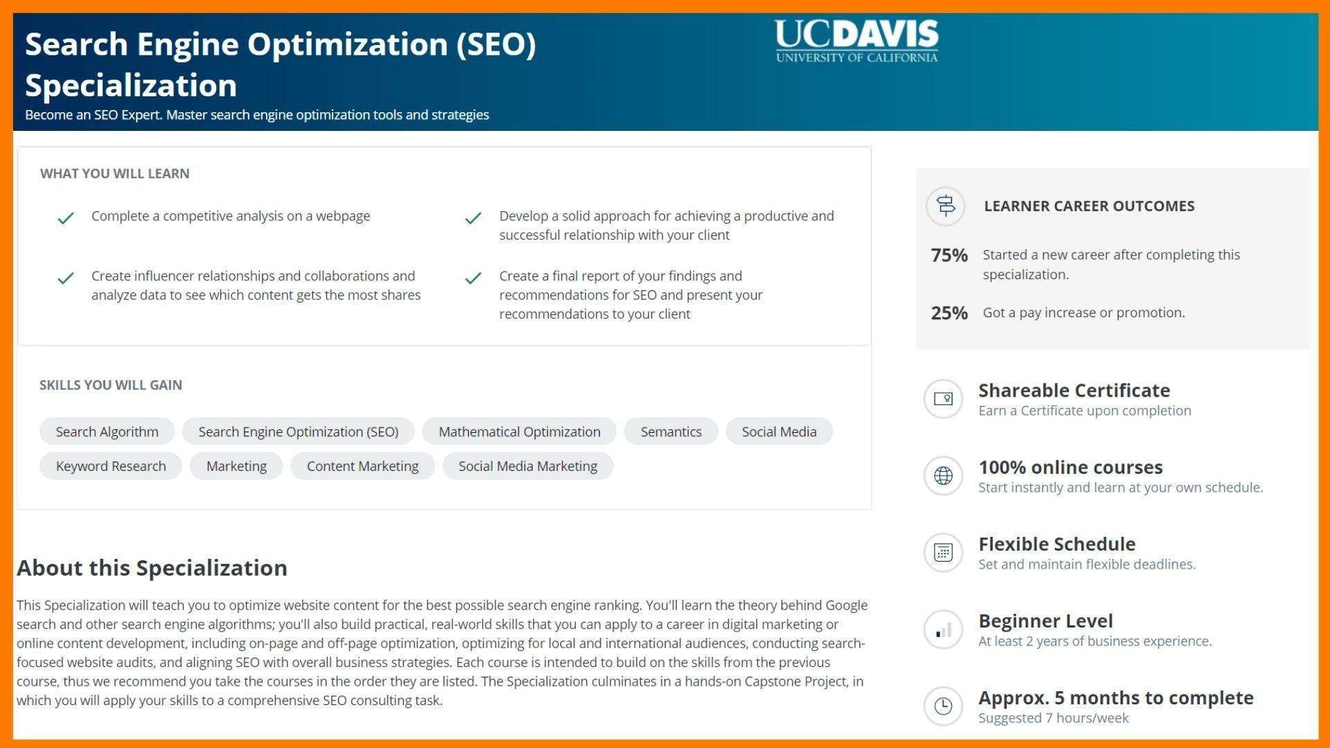 Search Engine Optimization (SEO) Specialization