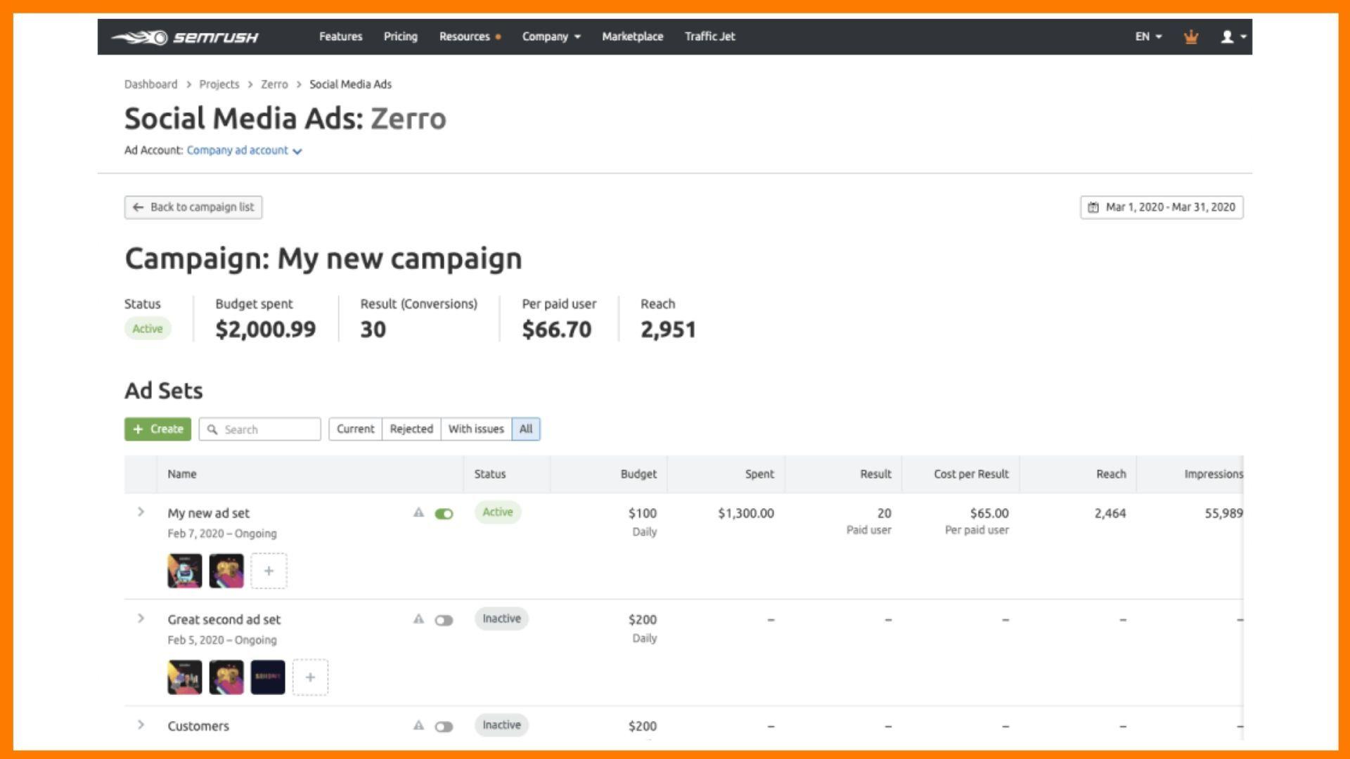 Semrush Social Media Toolkit - Create ads