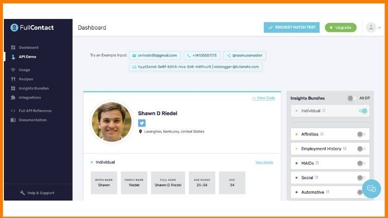FullContact API Demo Dashboard Startuptalky