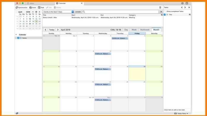 Thunderbird Lightning Calendar Dashboard
