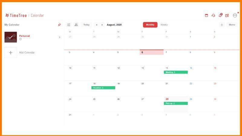TimeTree Calendar Dashboard