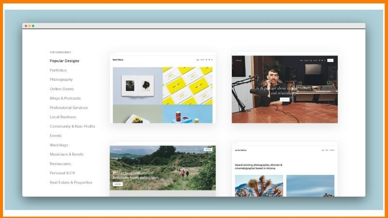 Website Templates on SquareSpace