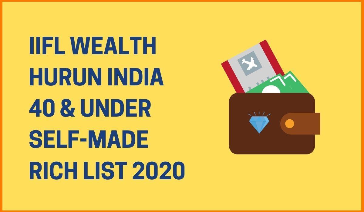IIFL Wealth Hurun India 40 & Under Self-Made Rich List 2020