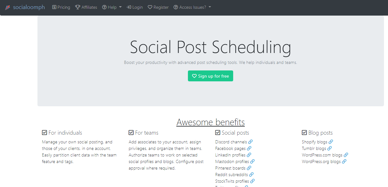 SocialOomph Social Post Scheduling Tool