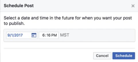 Facebook Post Schedule