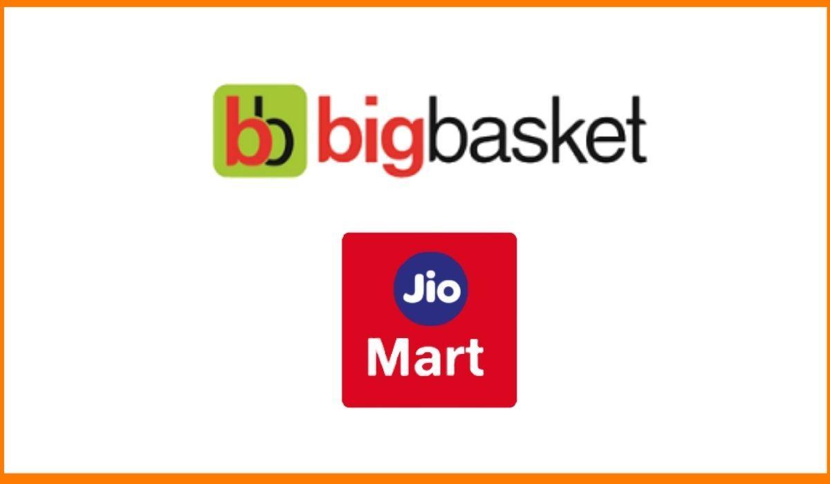 The logos of bigbasket and jiomart