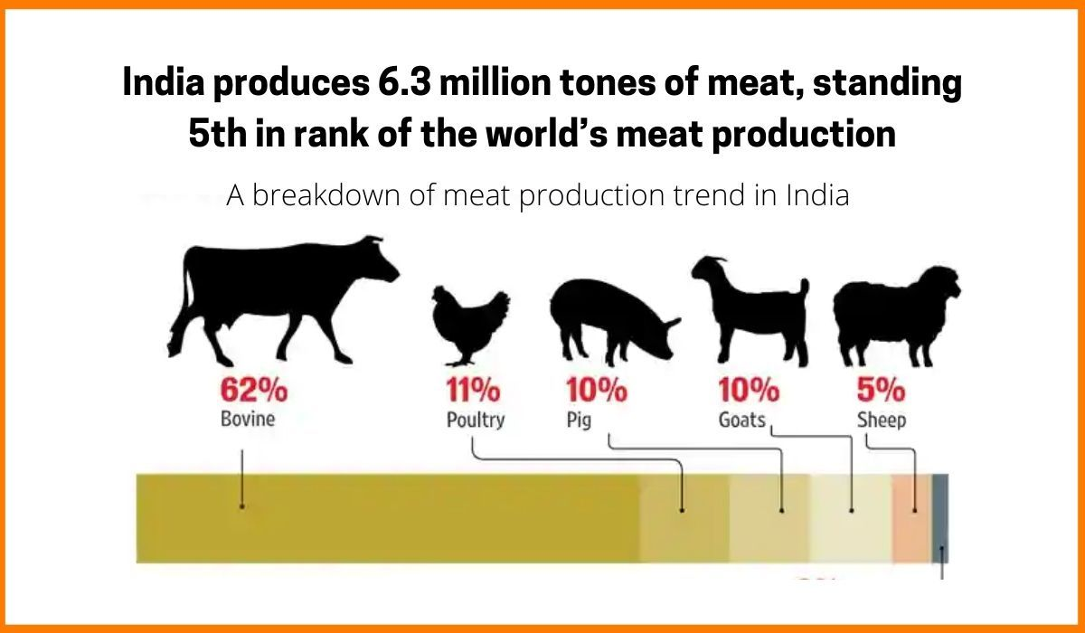 A breakdown of meat production trend in India.