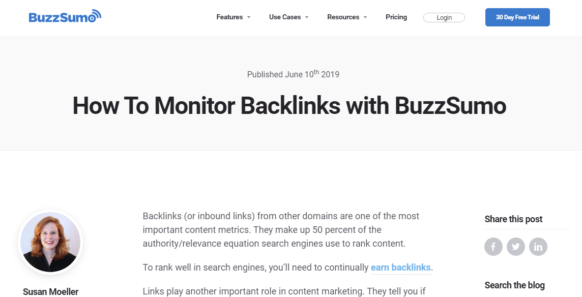 BuzzSumo Backlink Monitor