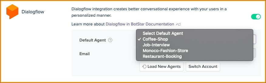 Dialogflow Integration dashboard