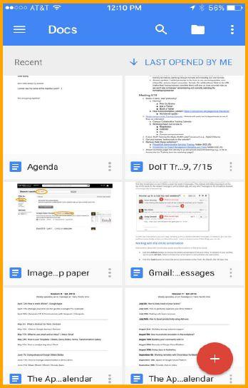 Google Docs mobile dashboard