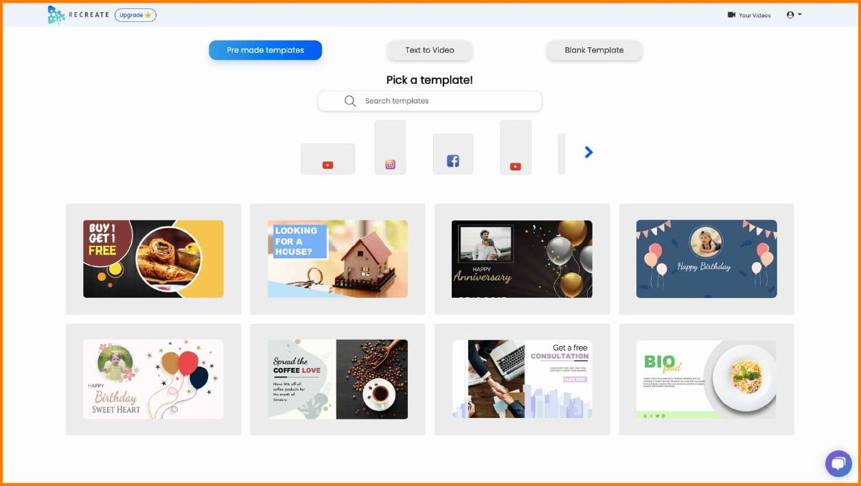 Recreate has a collection of more than 300+ professionally designed templates