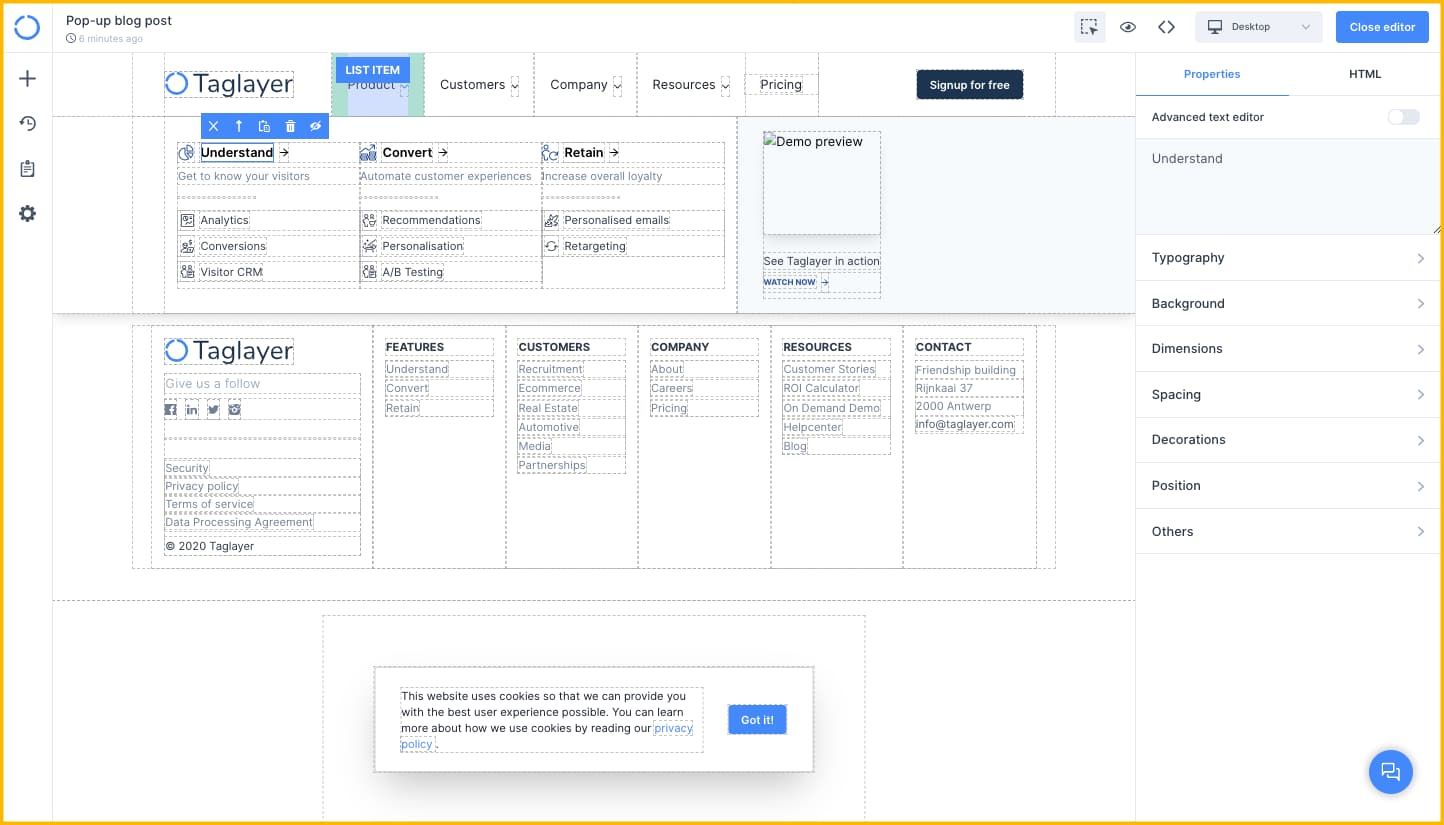 Taglayer's A/B testing dashboard