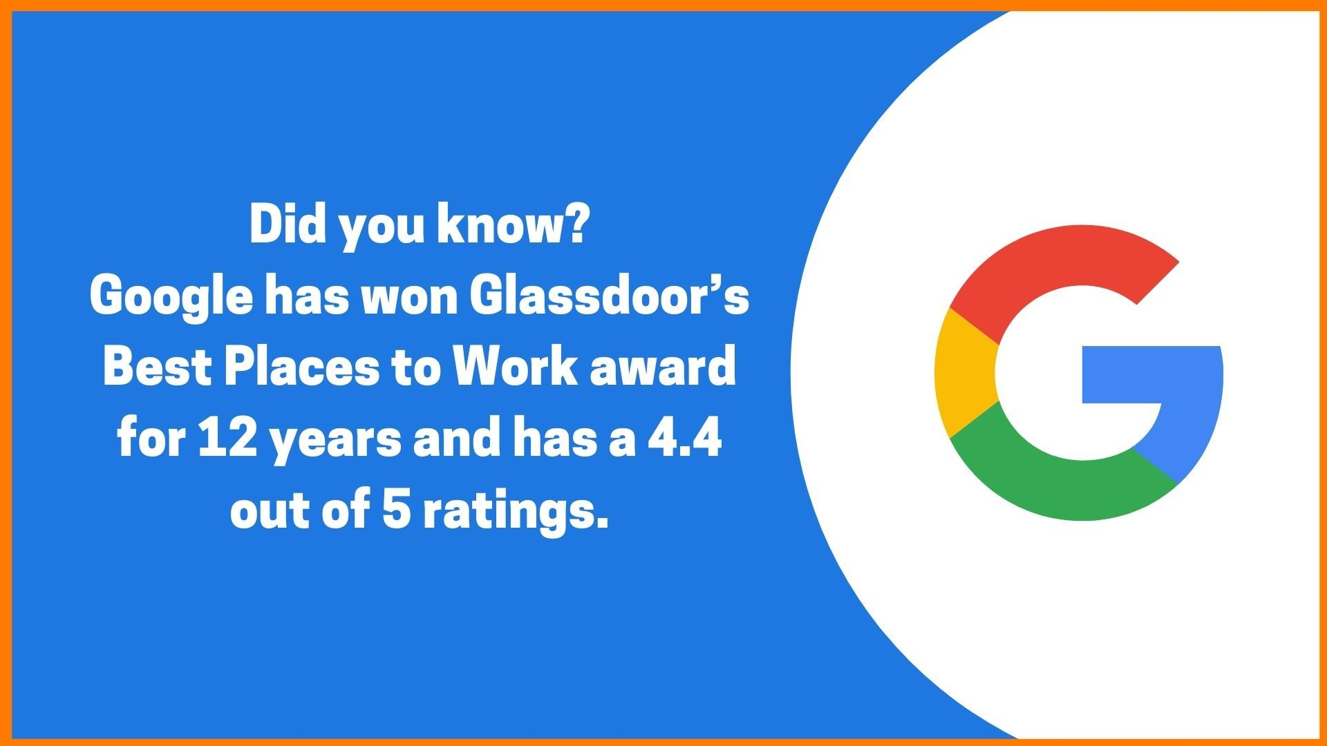 Google won Glassdoor Award for 12 years