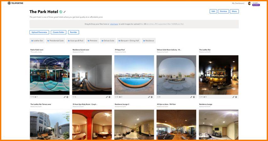Teliportme real estate virtual tours dashboard