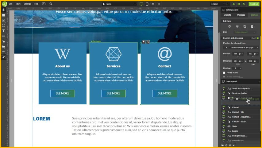 WebWave has a Photoshop like interface where you can edit your project with precision