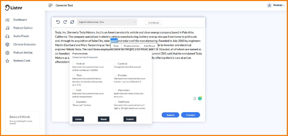 Lisntr converts your text or blog into podcasts using AI