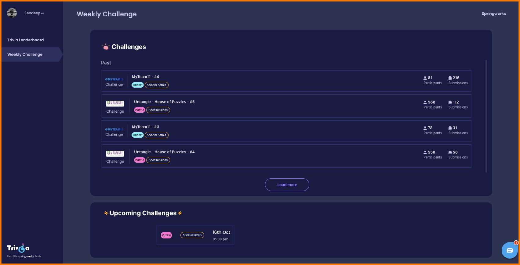 Trivia weekly challenges dashboard