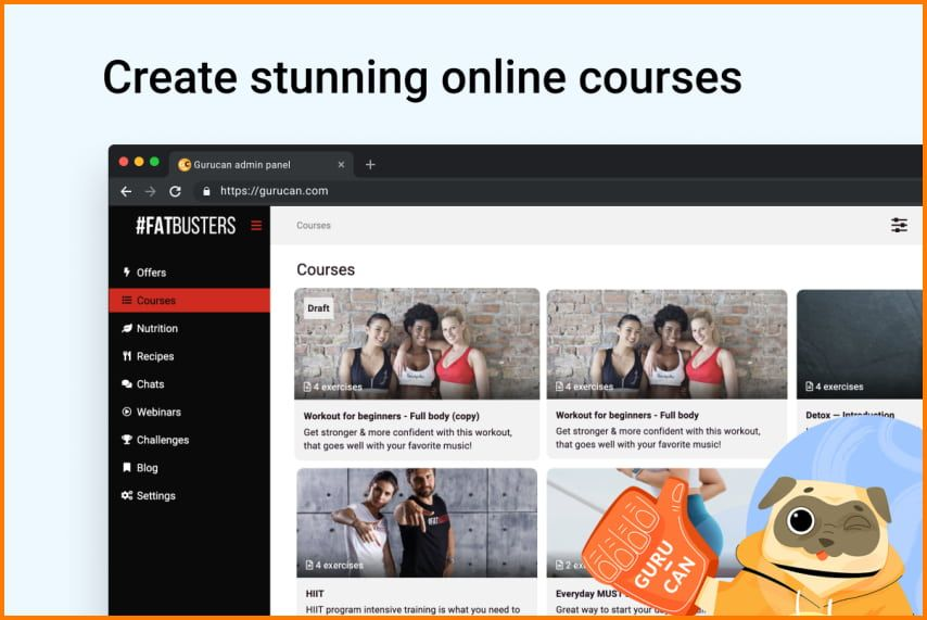 Gurucan allows users to create stunning online courses