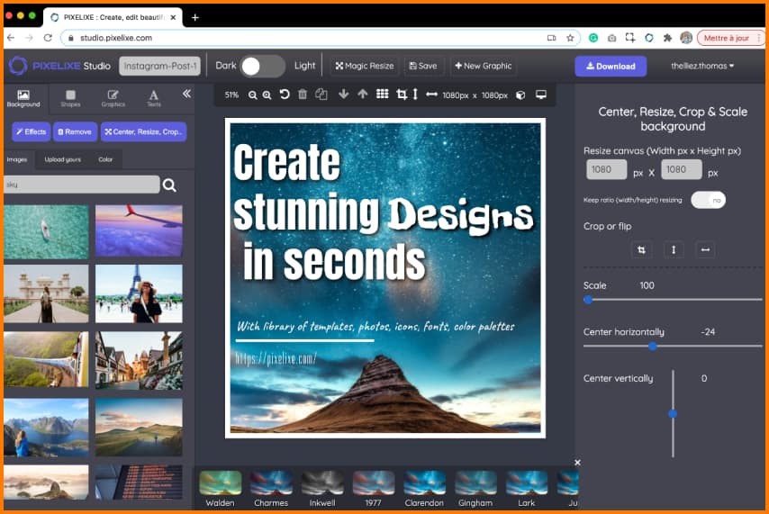 Pixelixe allows users to design graphics, create and edit images