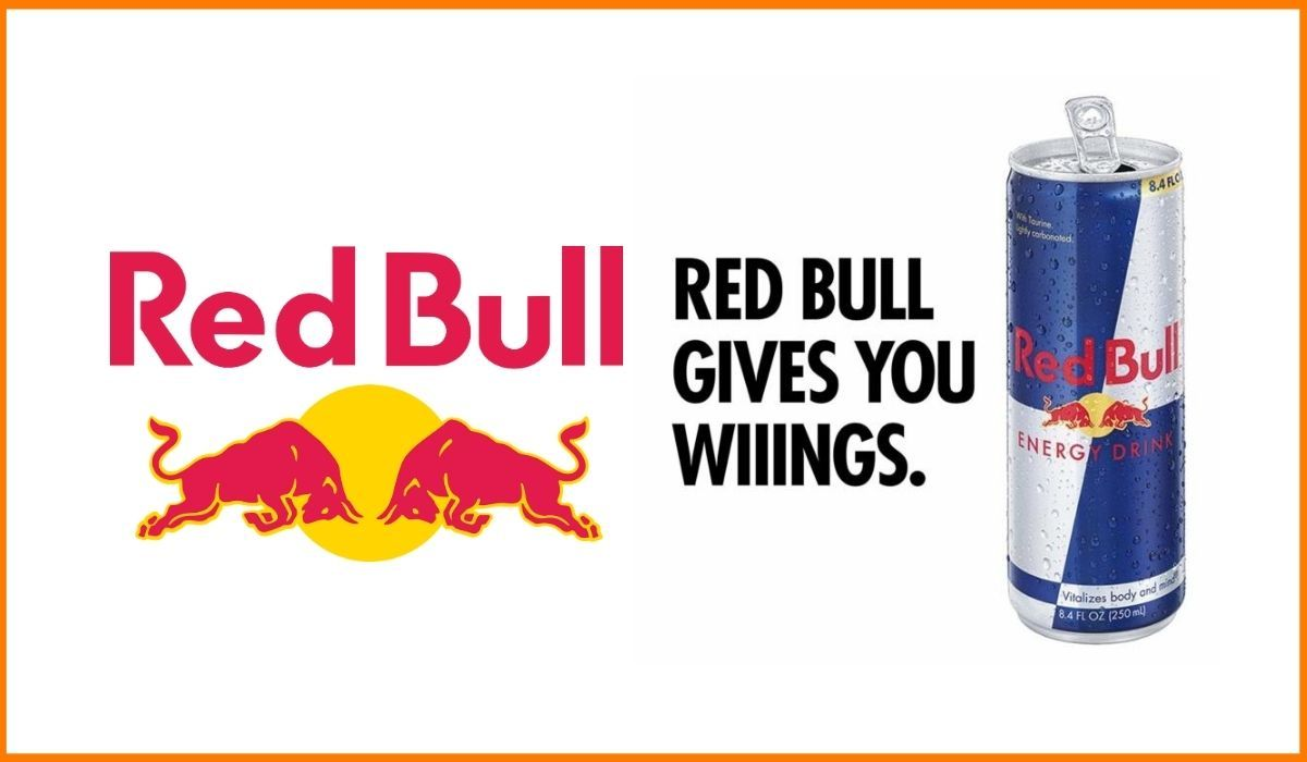 The Red Bull logo and slogan