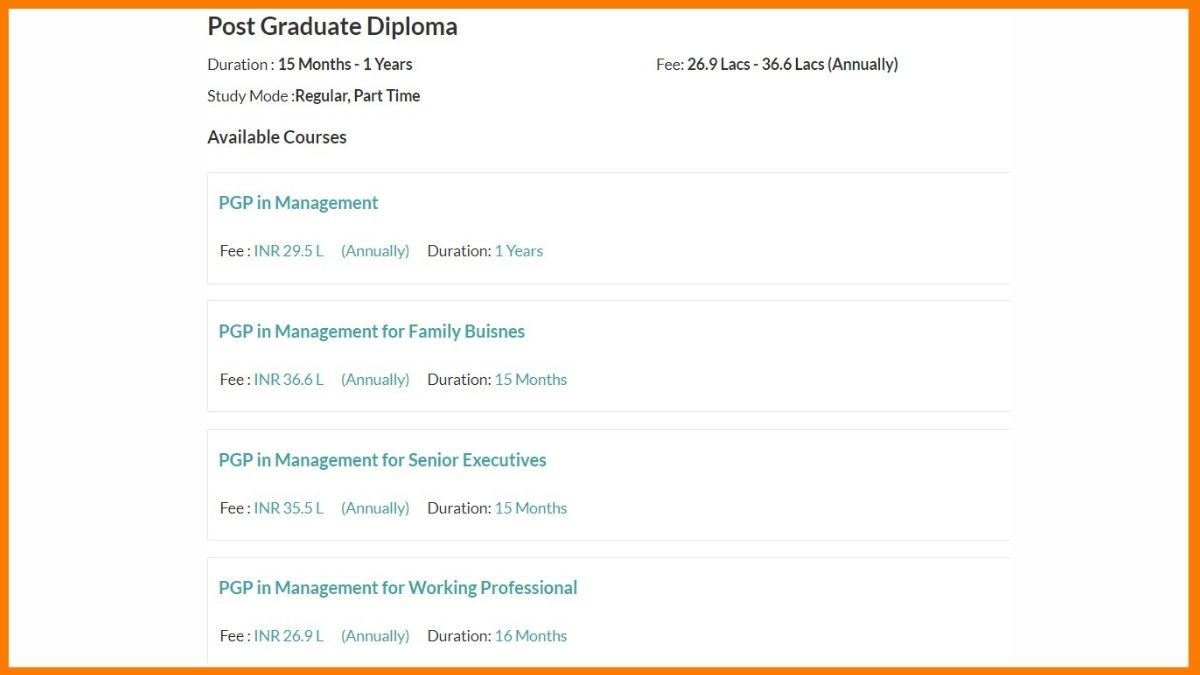 Courses offered by Indian school of business_