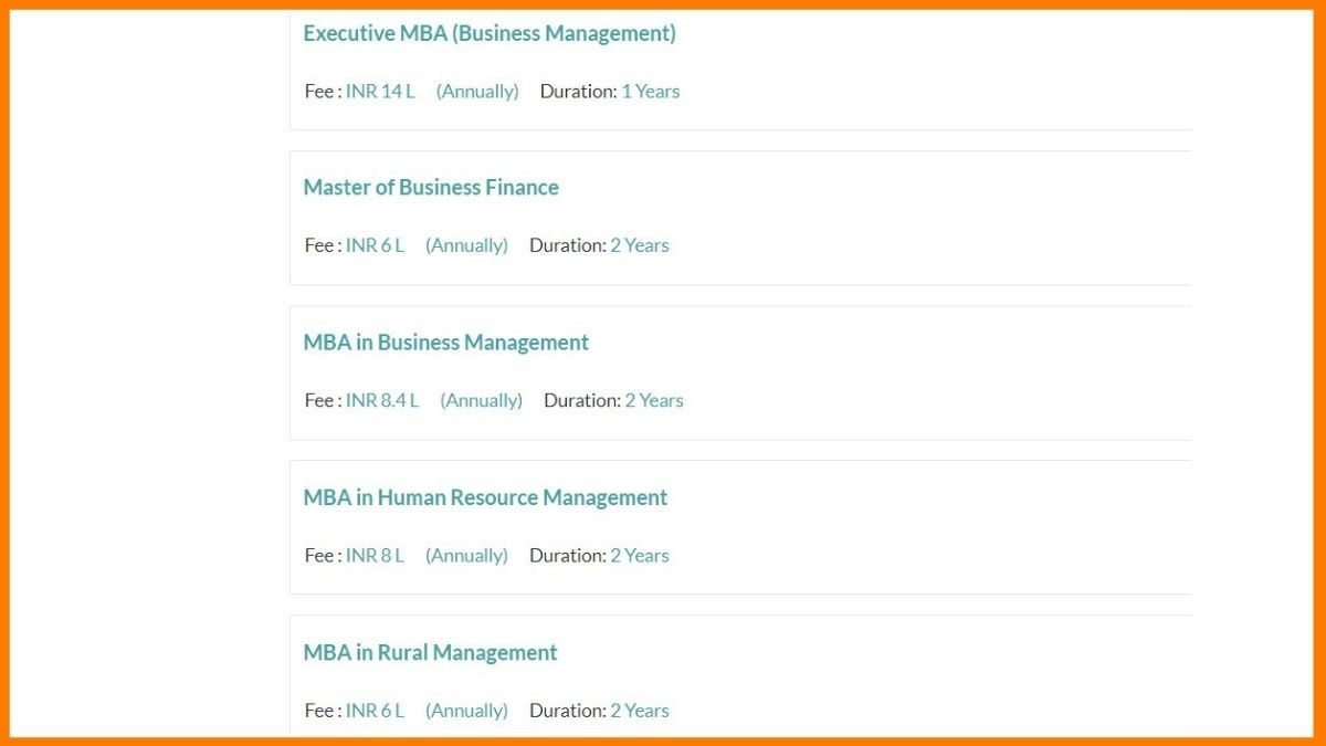 MBA courses offered by Xavier School of Management