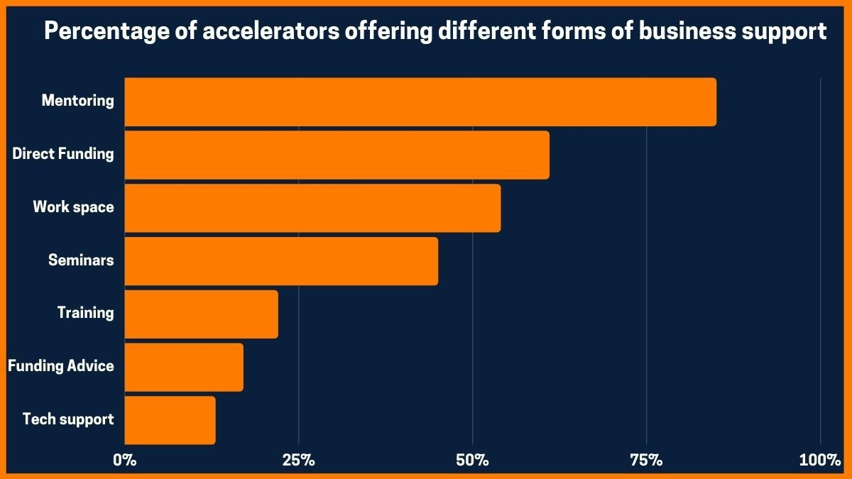 Percentage of accelerators offering different forms of business support