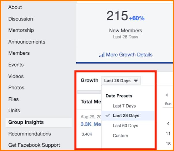 Facebook Insights change date range