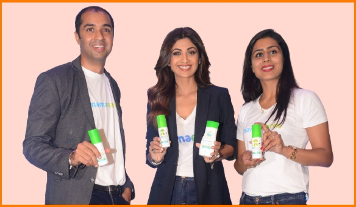 Shilpa Shetty with Varun and Ghazal Alagh the founders of Mamaearth
