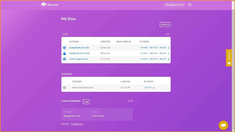 tiiny.host dashboard