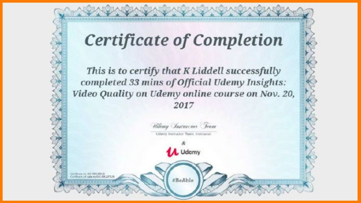 Udemy Certificate of Completion Sample