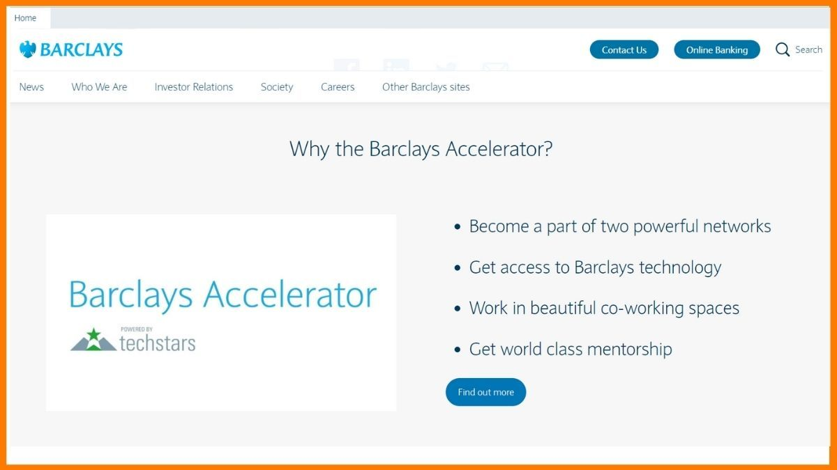 Barclays Accelerator Website