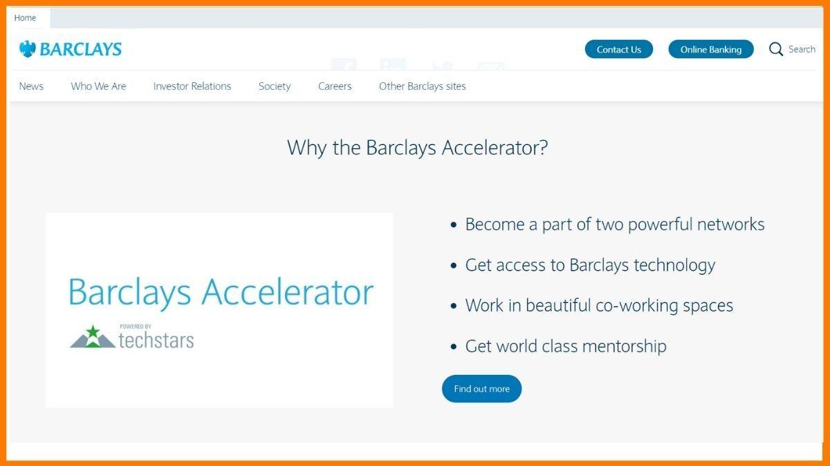 Barclays Accelerator Website - A Startup incubator in London