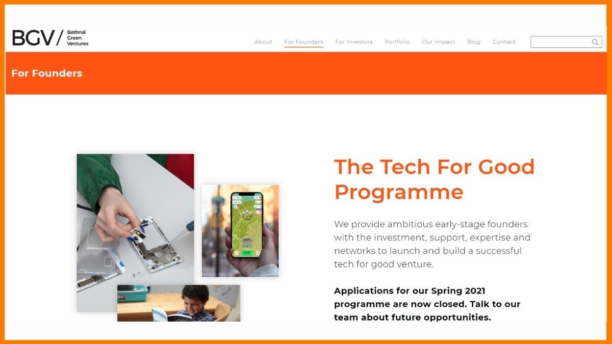 Bethnal Green Ventures Website - A startup incubator in London