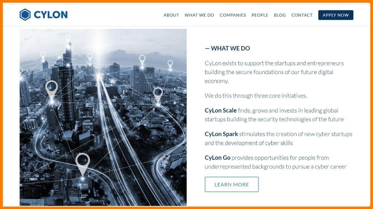 Cylon Website - A startup incubator in London