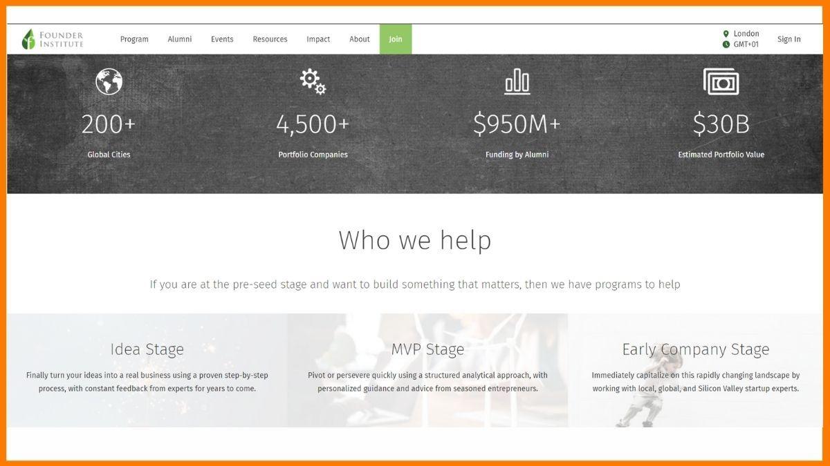 Founder Institute London Website - A startup accelerator in London