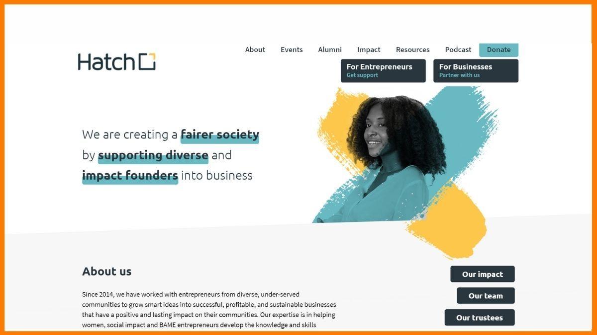Hatch Website - A startup incubator in London