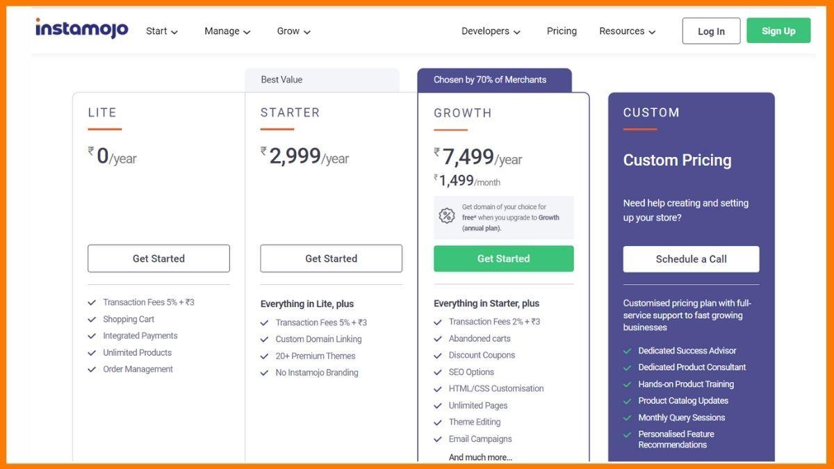 Instamojo Store Pricing