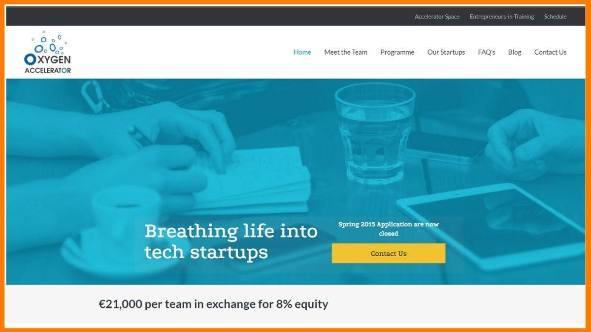 Oxygen Accelerator Website - A startup accelerator in London